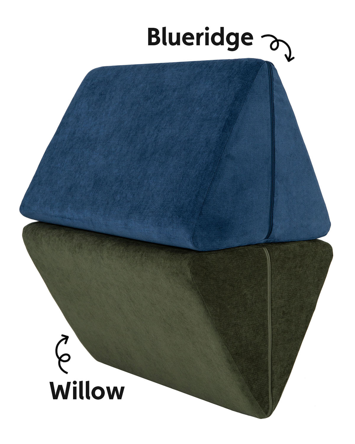 Blueridge and Willow double-brushed Nugget Pillows stacked on top of each other