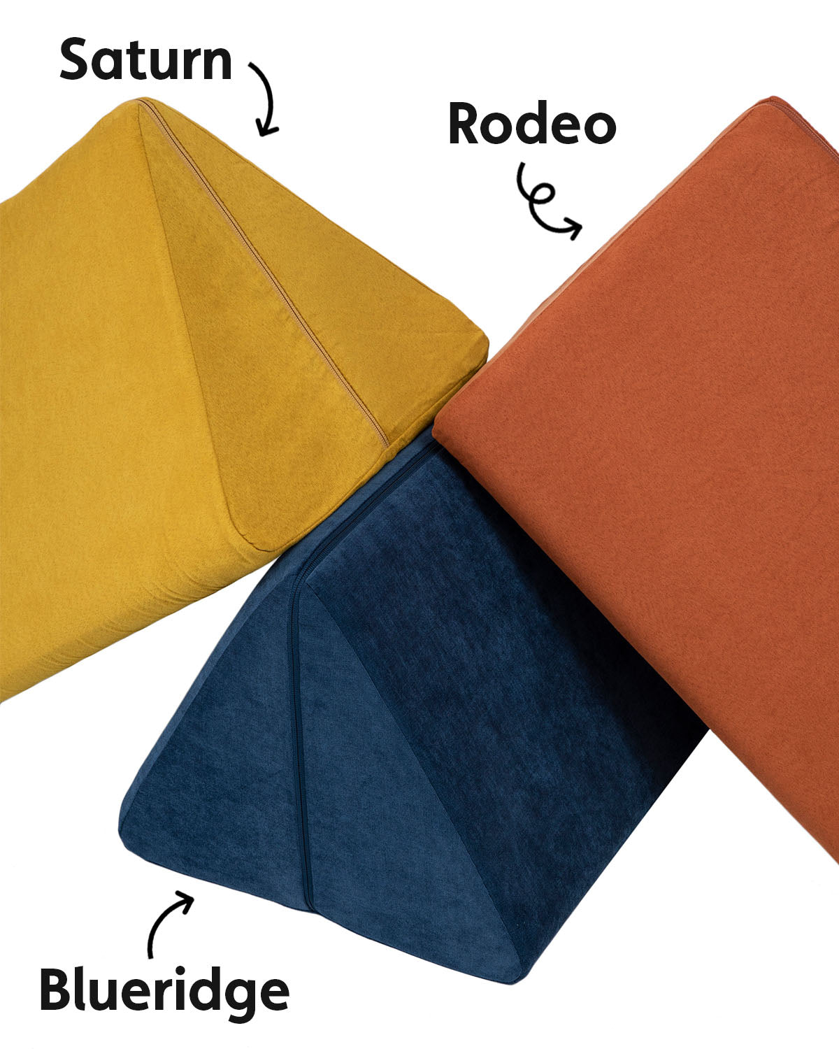 Three Nugget pillows stacked on top of each other, from left to right: Saturn, Blueridge, and Rodeo.