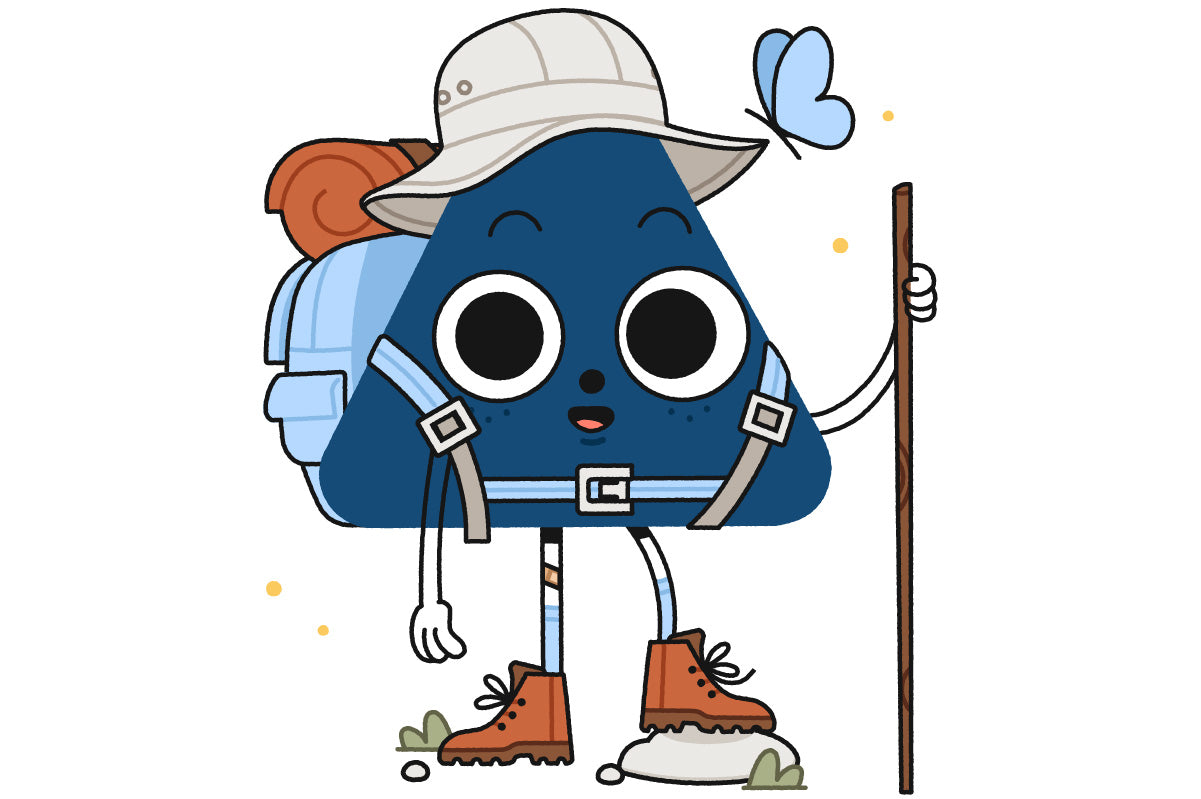 Blueridge Nugget character wearing hiking boots and backpack, holding hiking stick, ready to hit the trails