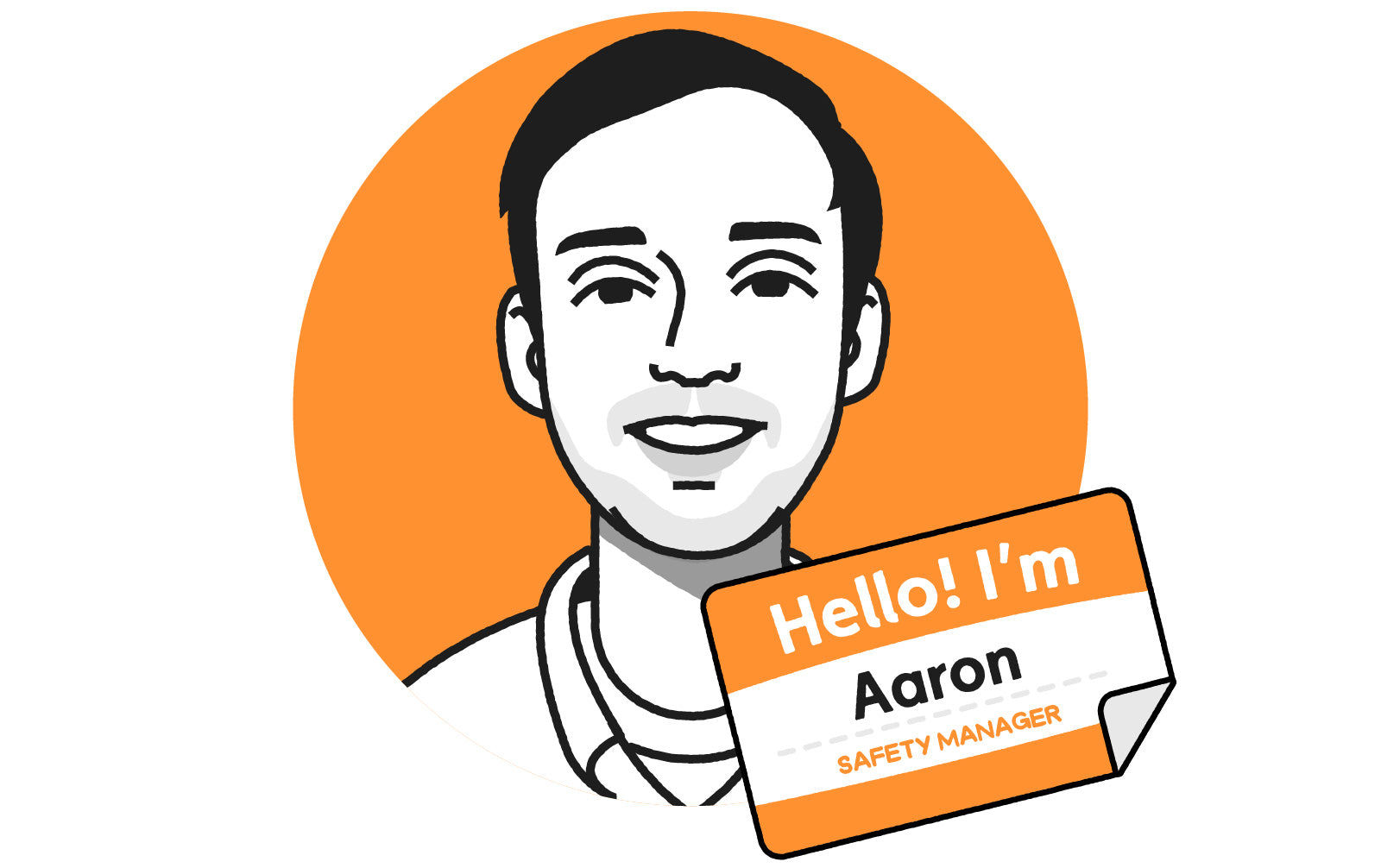 Illustrated headshot of man wearing collared shirt, with name tag that says Hello! I'm Aaron, Safety Manager