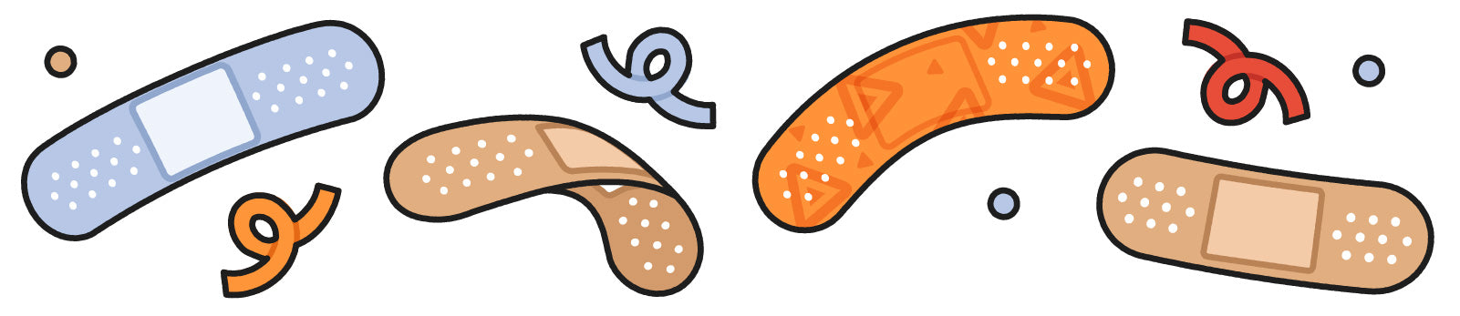 Line of illustrated bandaids in various colors