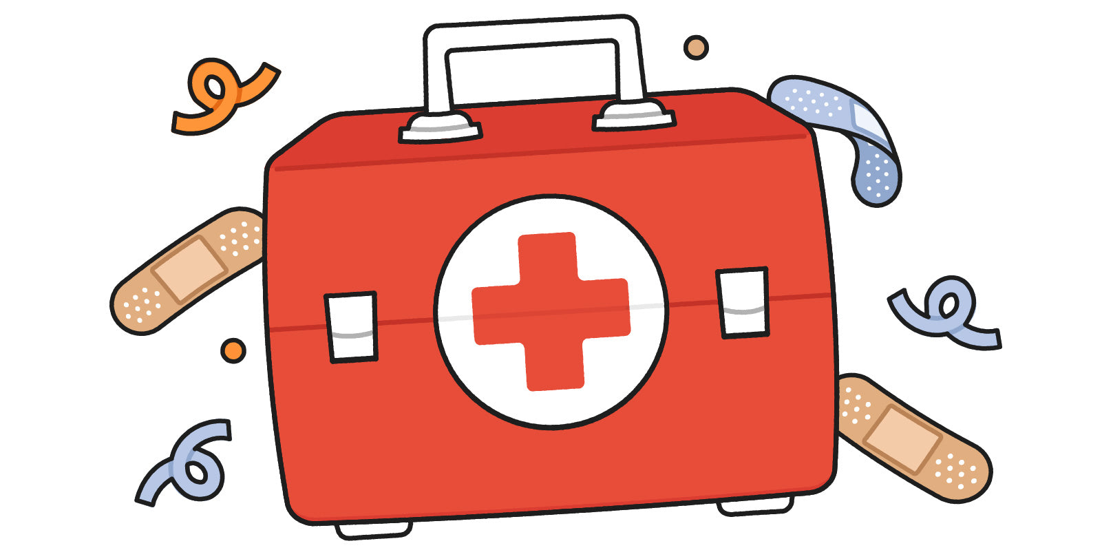 Illustrated first aid kit with curlicues and bandaid drawings