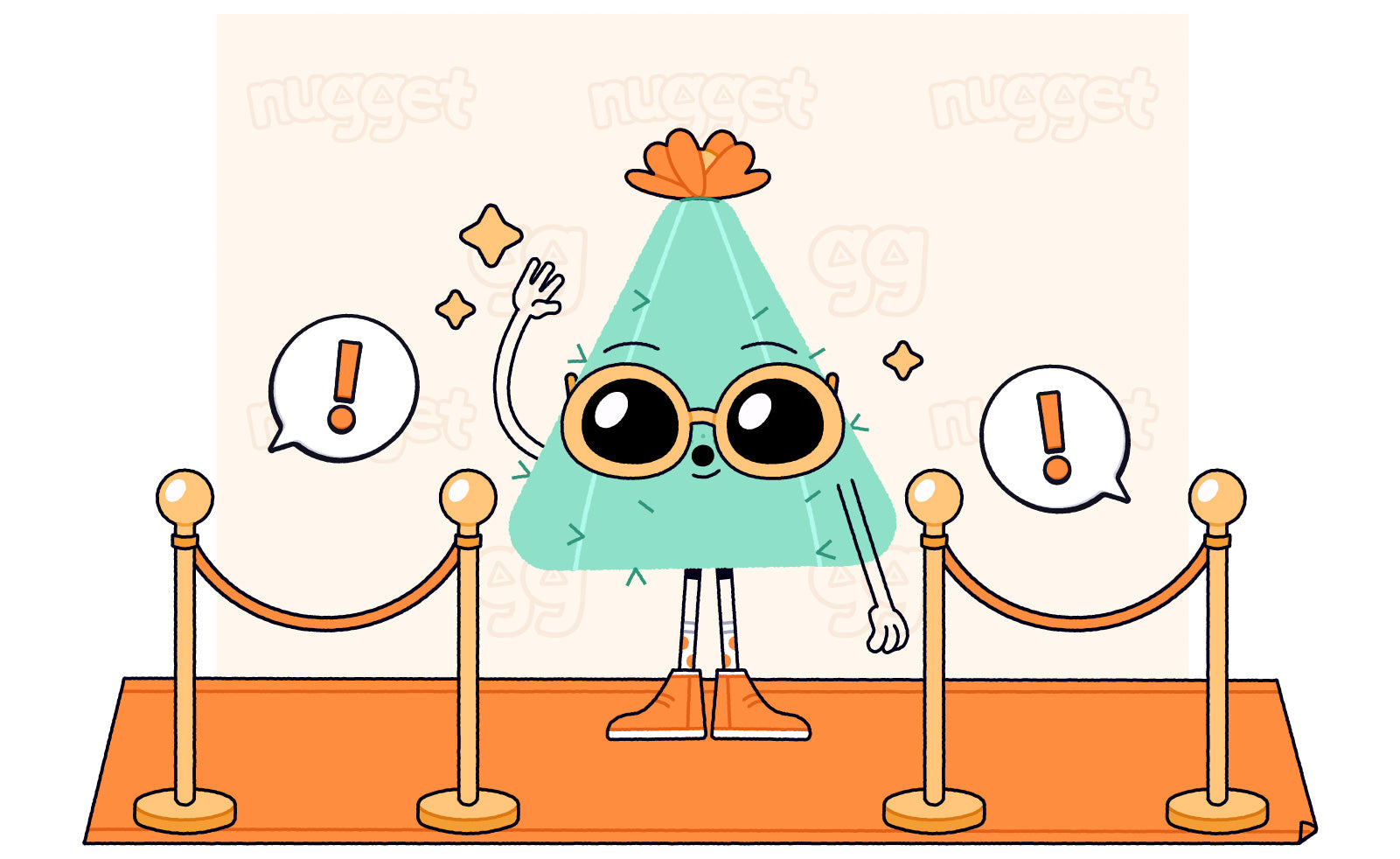 Cactus Nugget triangle character standing on orange carpet, waving at paparazzi