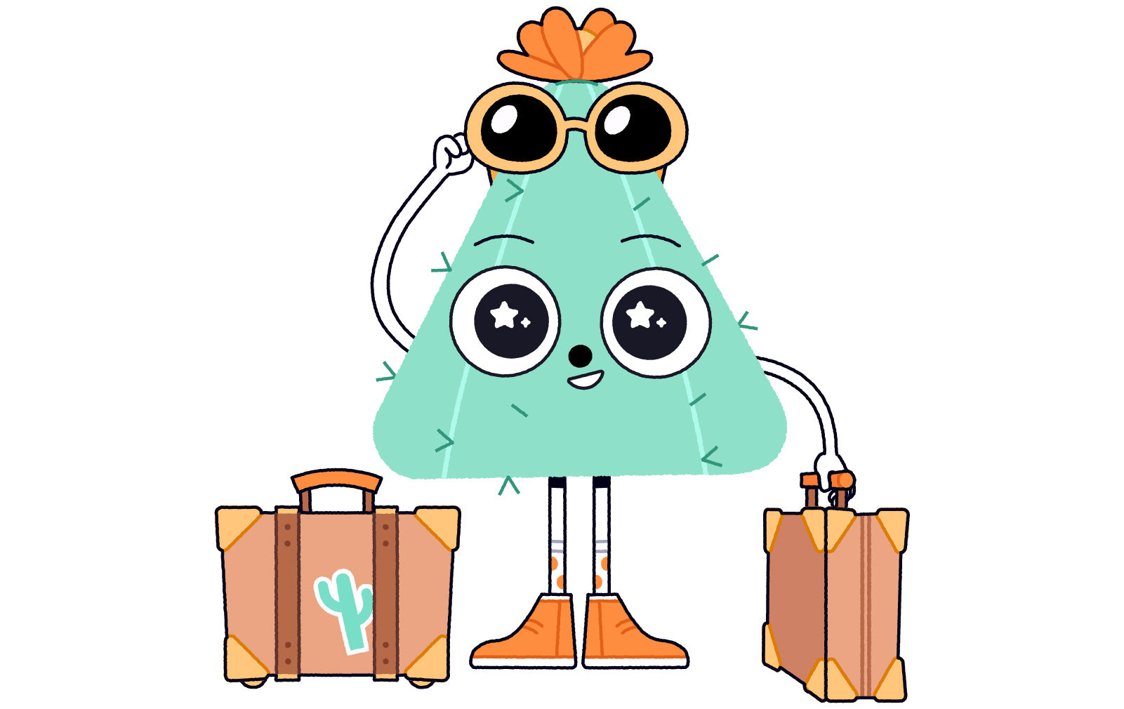 Cactus Nugget character holding suitcases, clearly back from a long trip.