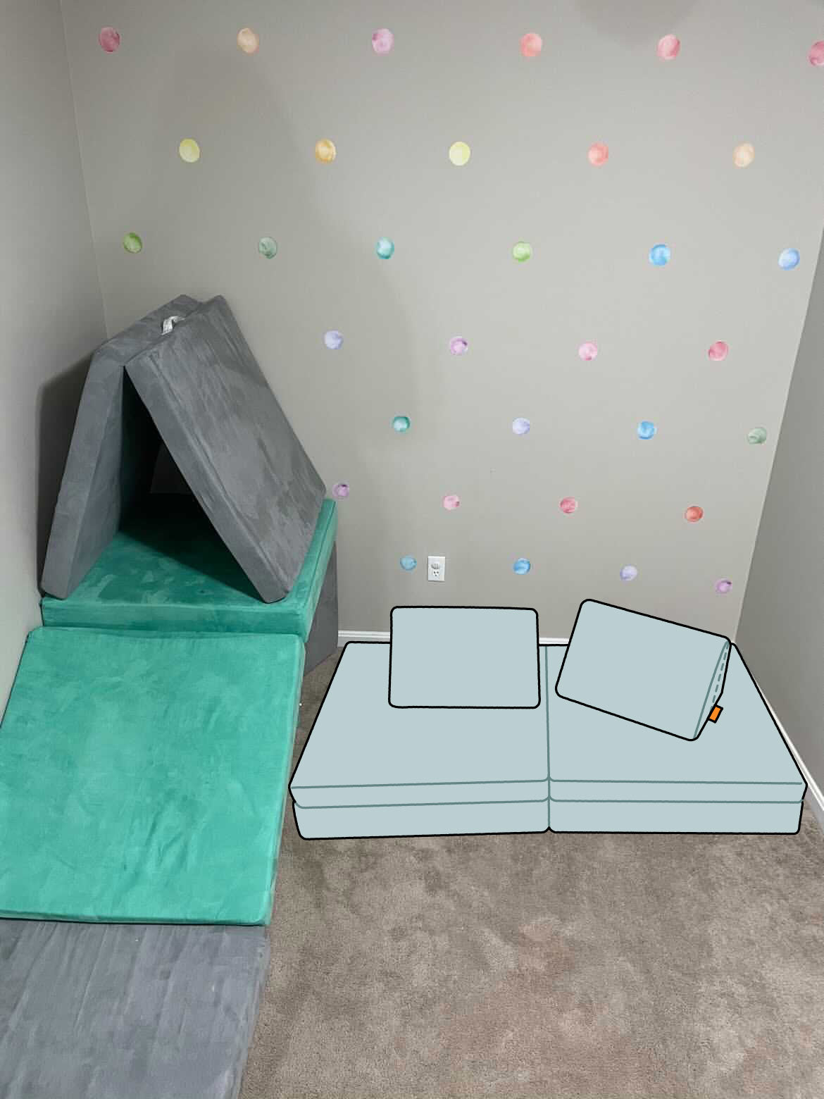 Playroom with rainbow polka dot accent wall, Nugget fort with Cactus and Koala colors, and added Daybreak couch illustration