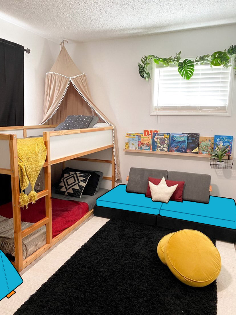 Children's room with bunkbeds, book shelf, canopy, black rug, and Nugget couch with illustration overlaid in Snorkel color