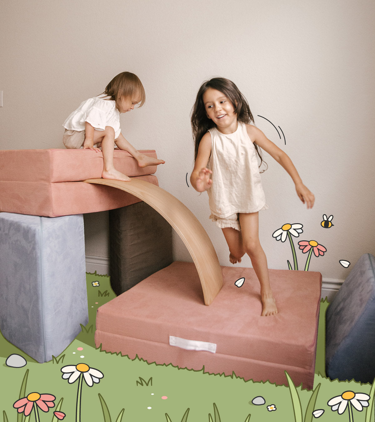 Two children playing on a Nugget fort made of Dewdrop and Sweetpea colors