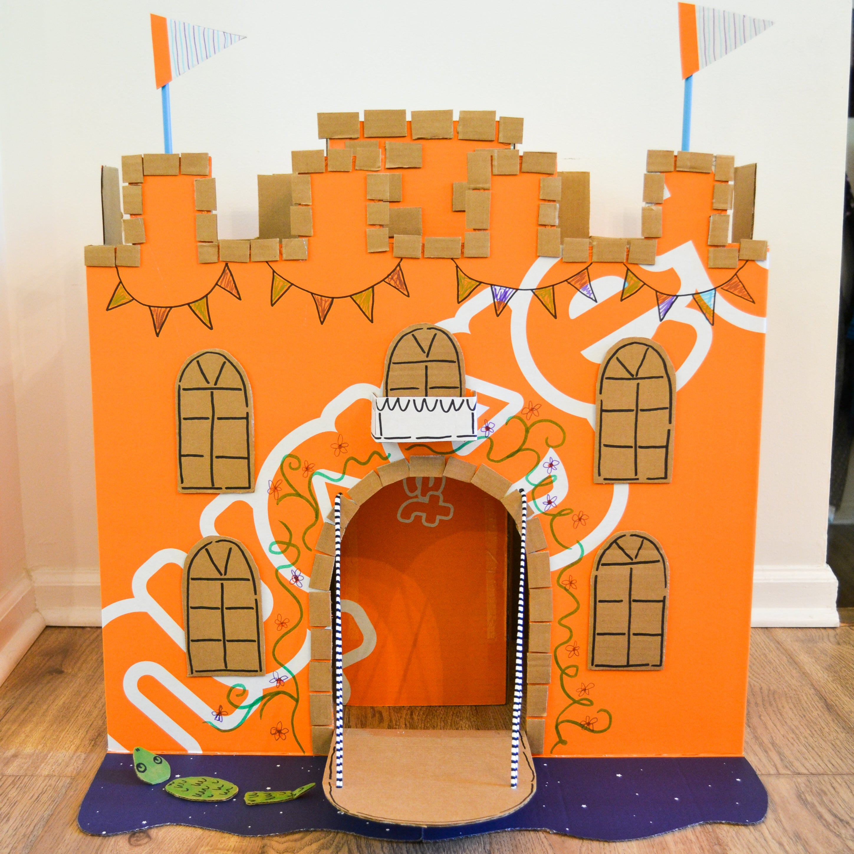 Cardboard castle made out of a Nugget Pillow Pack box