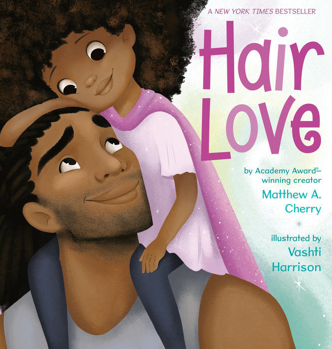 Book cover for Hair Love, kid sitting on shoulders of adult