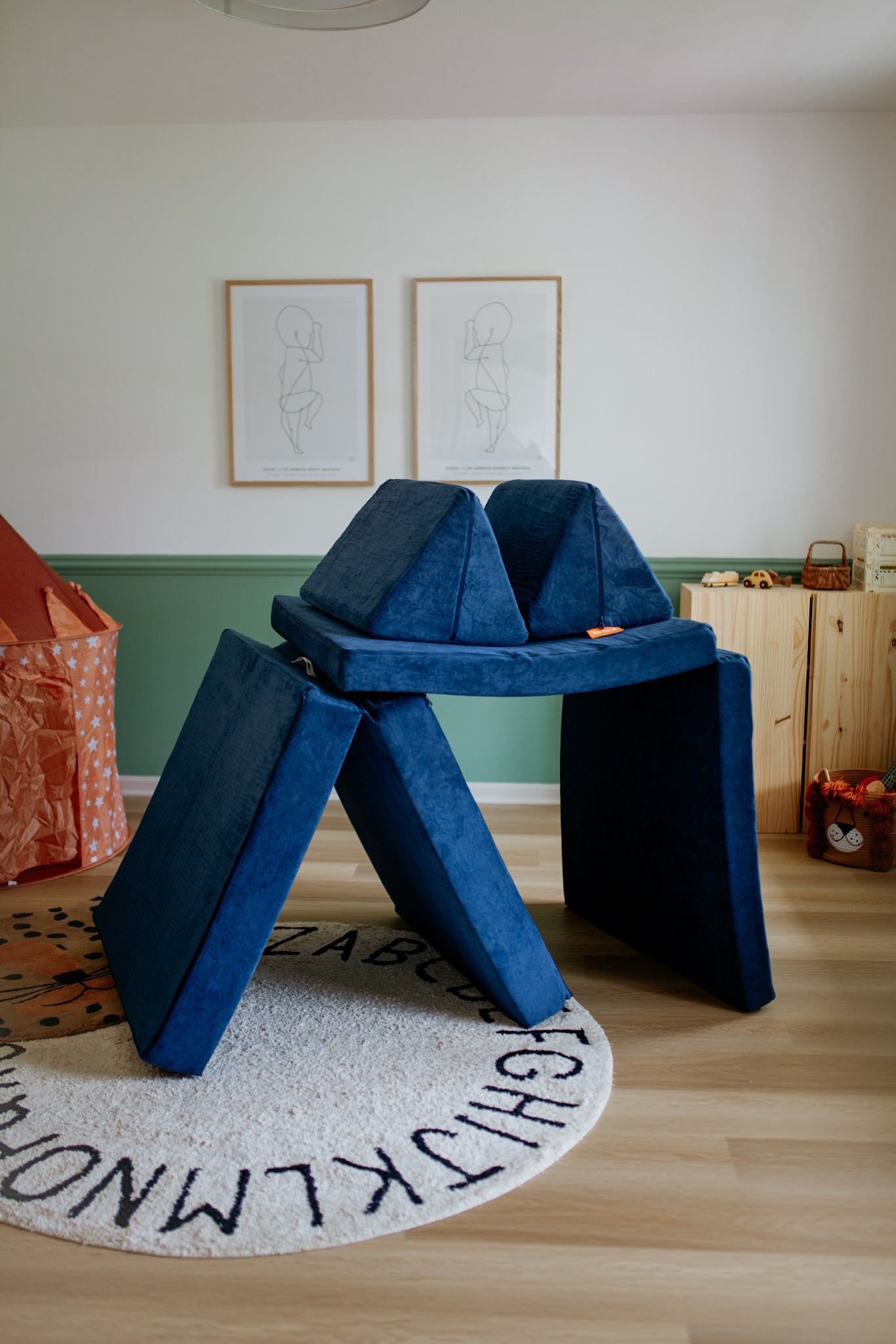Blueridge double-brushed navy Nugget built into a kids fort