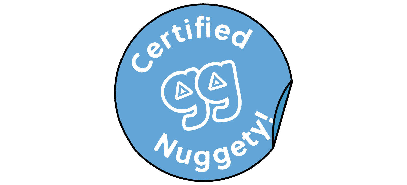 Blue illustrated circle sticker with words Certified Nuggety and Nugget gg logo