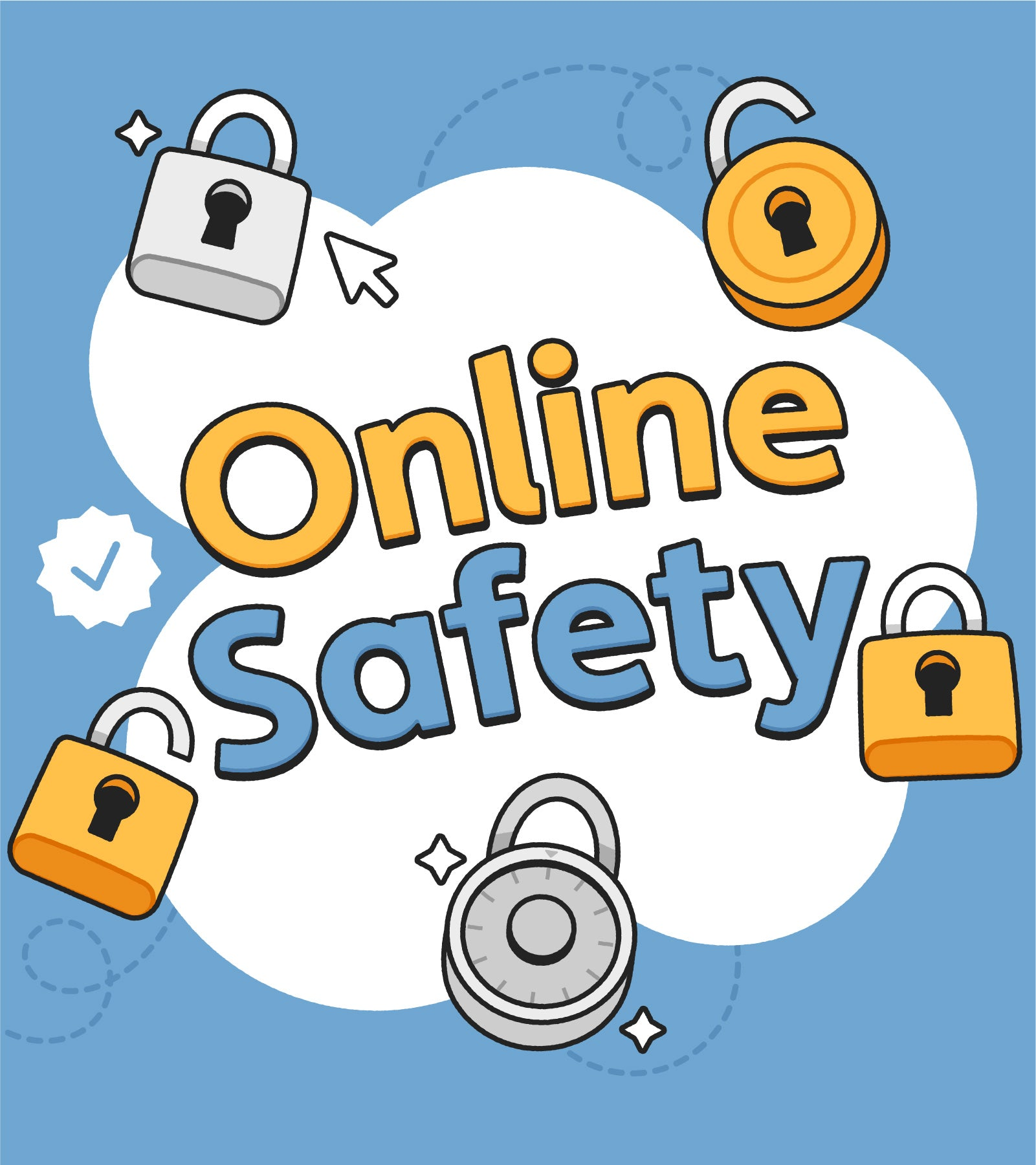 The words Online Safety surrounded by illustrated locks of various designs and colors