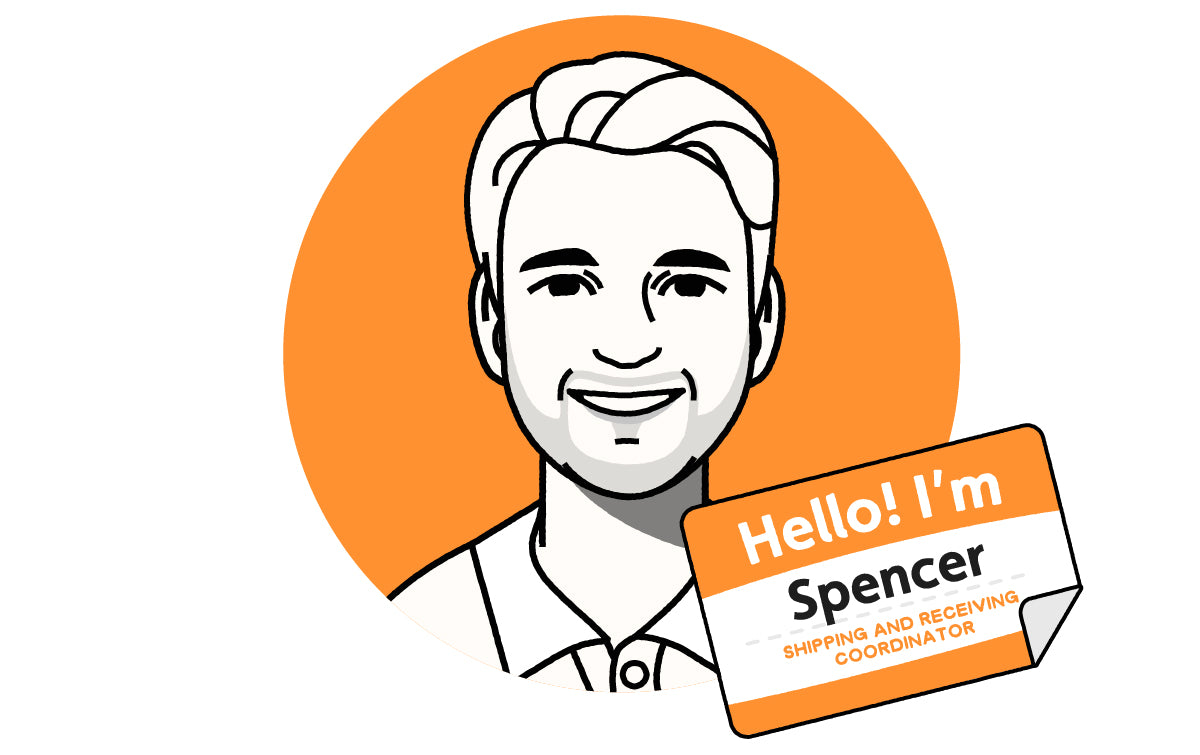 """Avatar of individual wearing collared shirt, smiling at camera, with a name tag """"Hello! I'm Spencer, Shipping and Receiving Coordinator."""""""