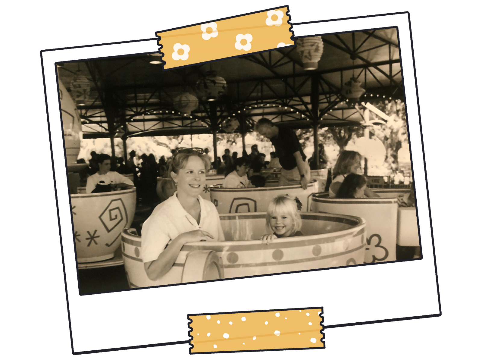 Sepia-toned mother and daughter on merry-go-round