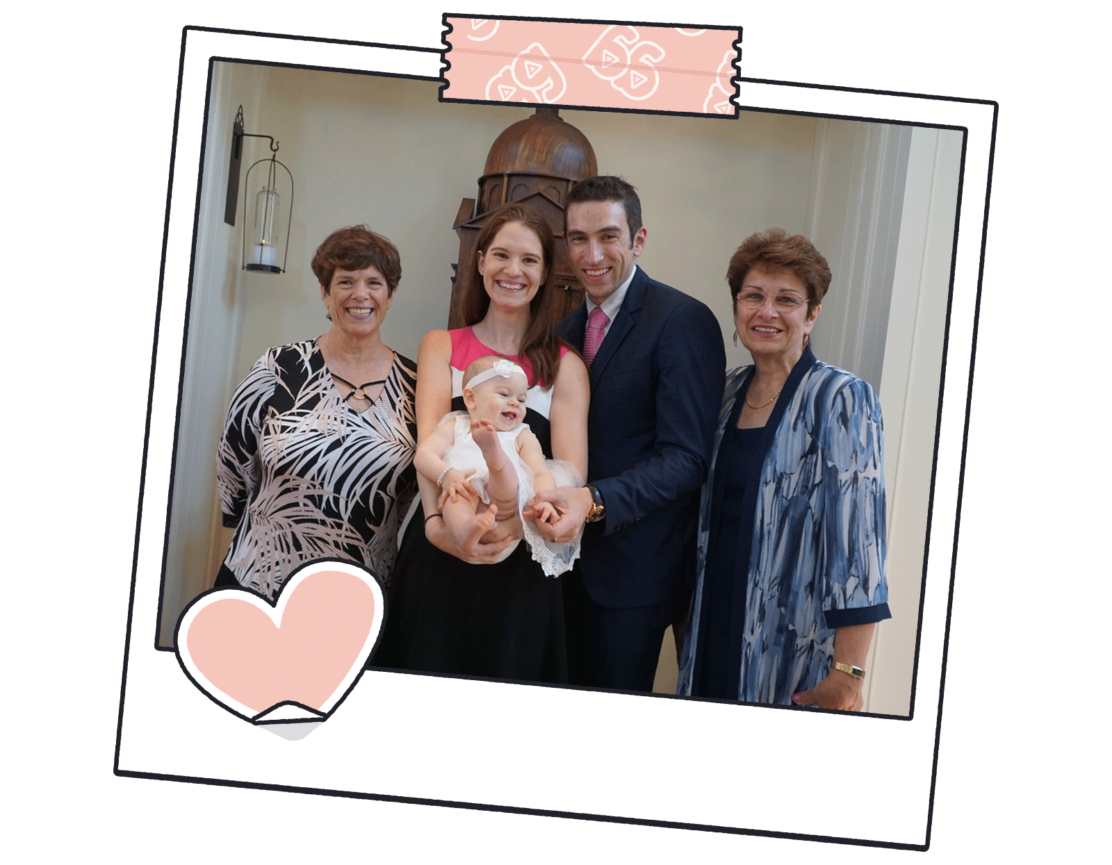 Waist-up photo of two parents holding their baby, with their mothers on each side