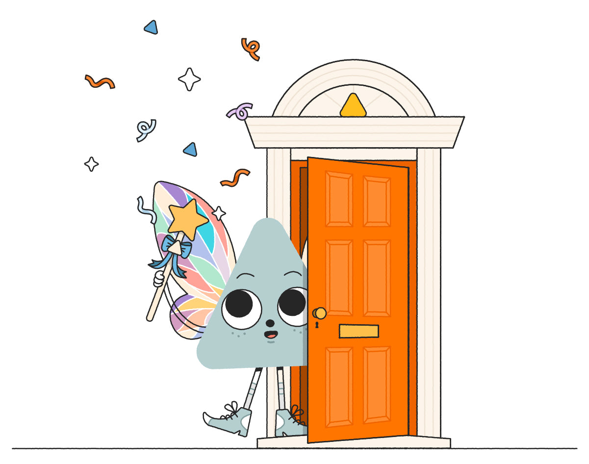 Nug Fairy character stepping out of their orange fairy door at Nugget HQ, holding a wand and trailing confetti