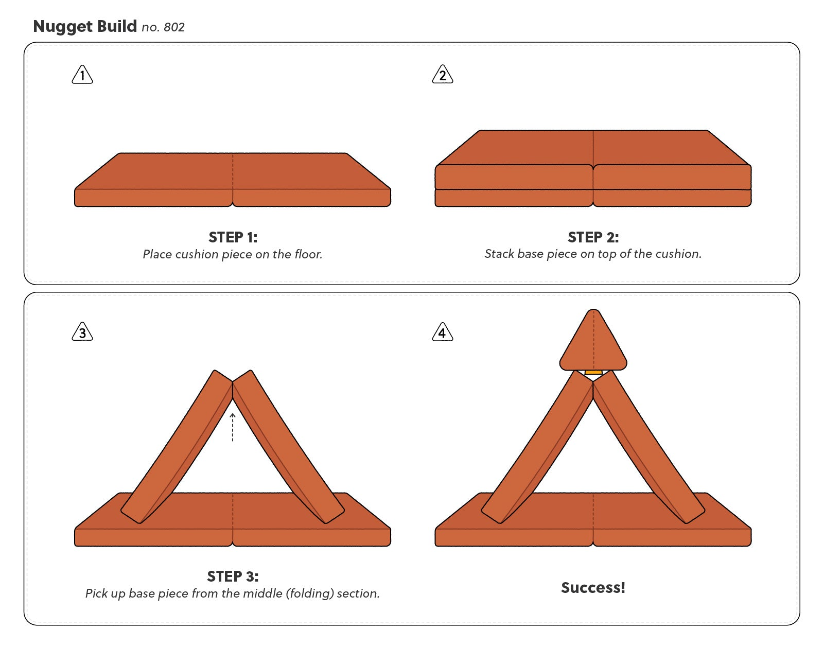Step by step guide for how to make Nugget Build no. 802, a triangle fort with one pillow on top