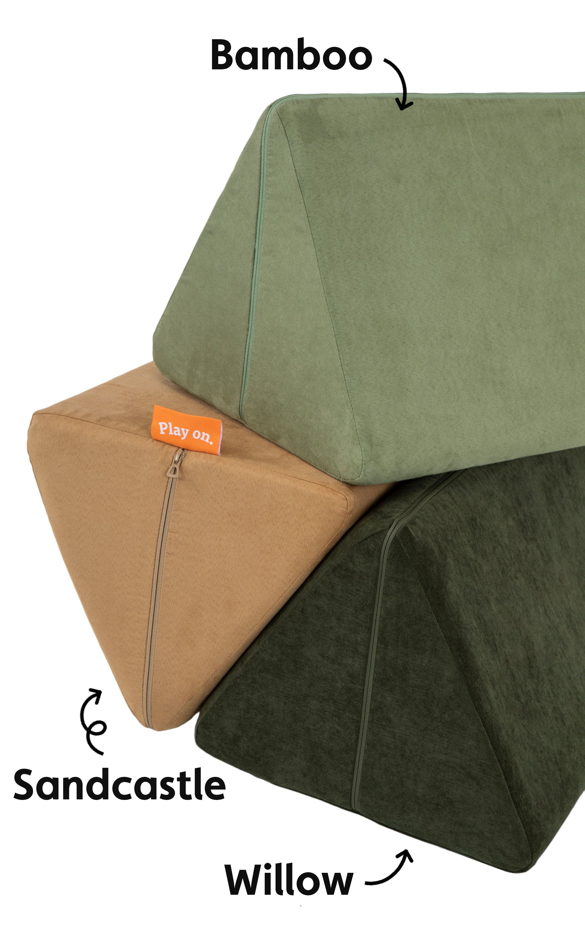 Sandcastle, Bamboo, and Willow Nugget pillows configured together for a color comparison photo