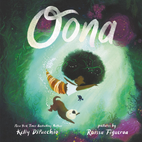 Book cover for Oona, girl and otter floating in ocean cave