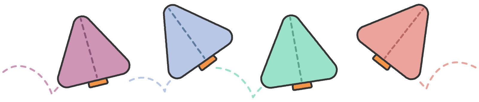 Illustration of bouncing Nugget pillows in various colors