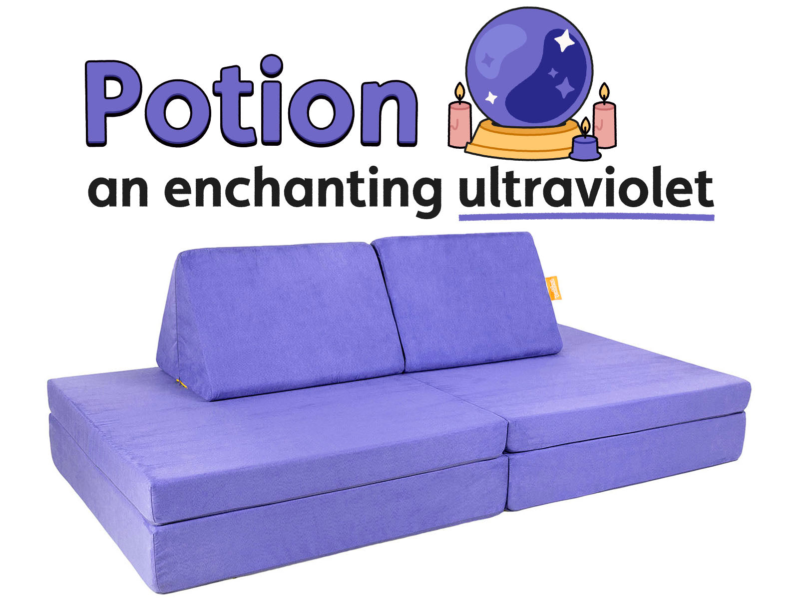 Word art illustration: Potion, an enchanting ultraviolet, with Potion Nugget couch on white background