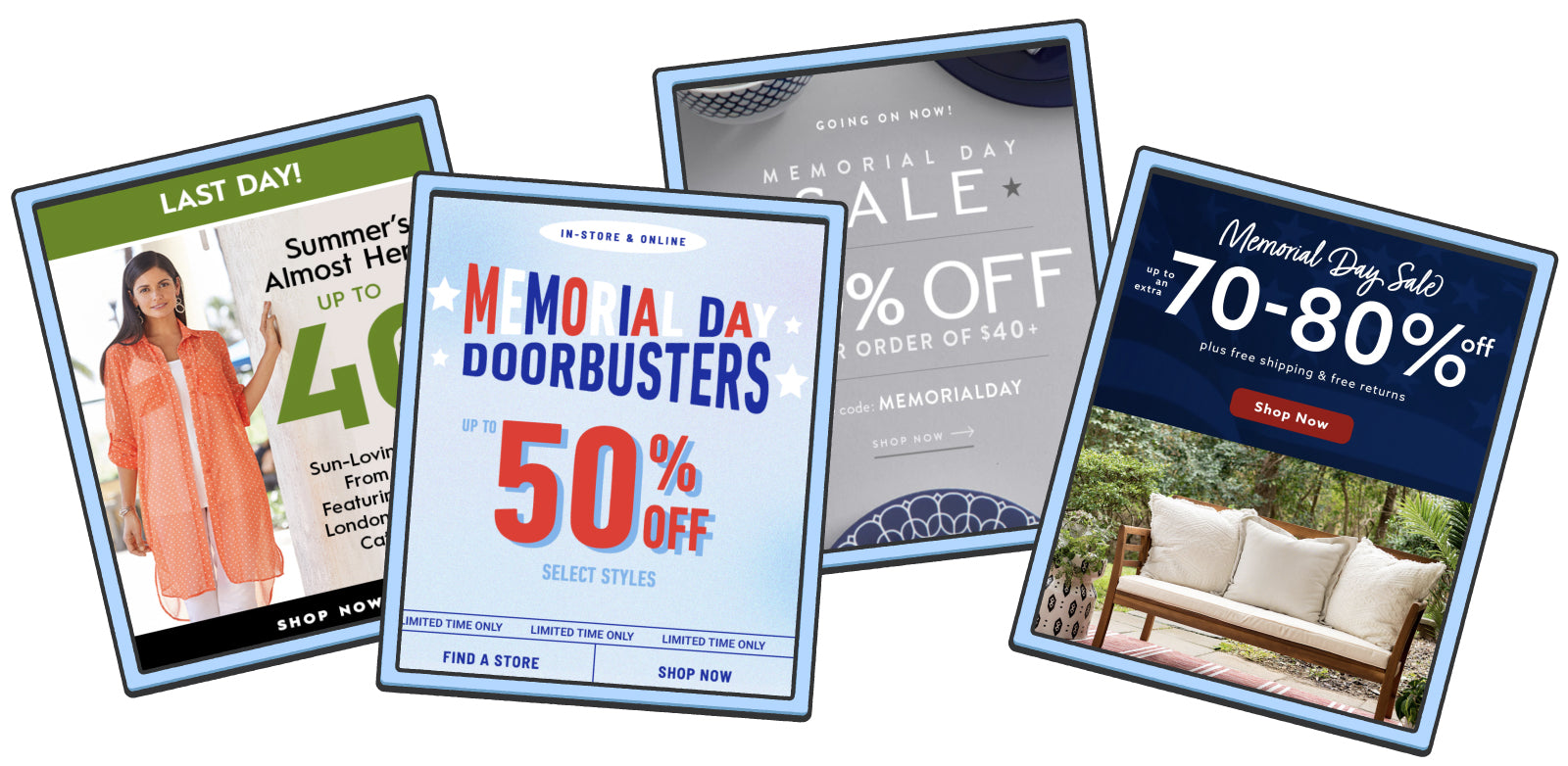 Four generic sale flyers advertising heavy holiday discounts