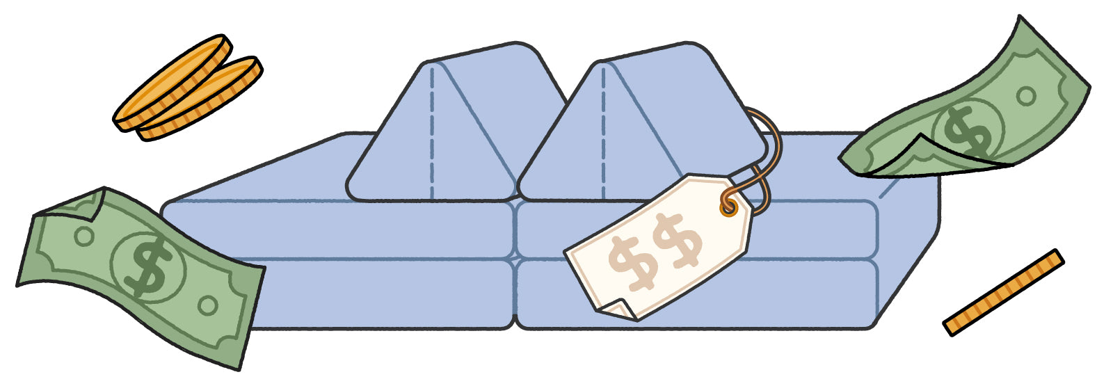 Illustration of light blue Nugget couch with price tag, coins and dollar bills