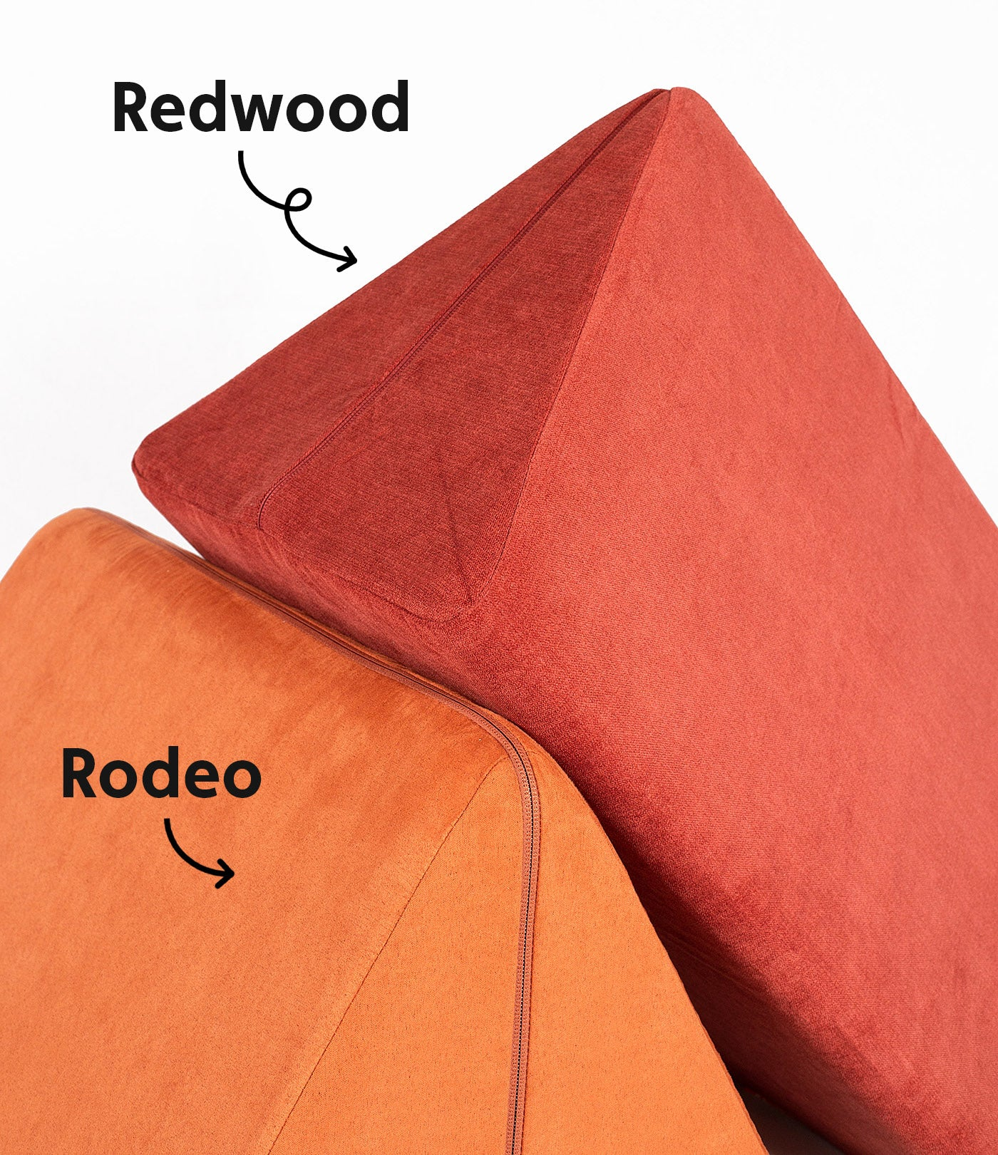 Redwood Pillow laid at an angle on Rodeo Pillow, with colors labeled with names and arrows