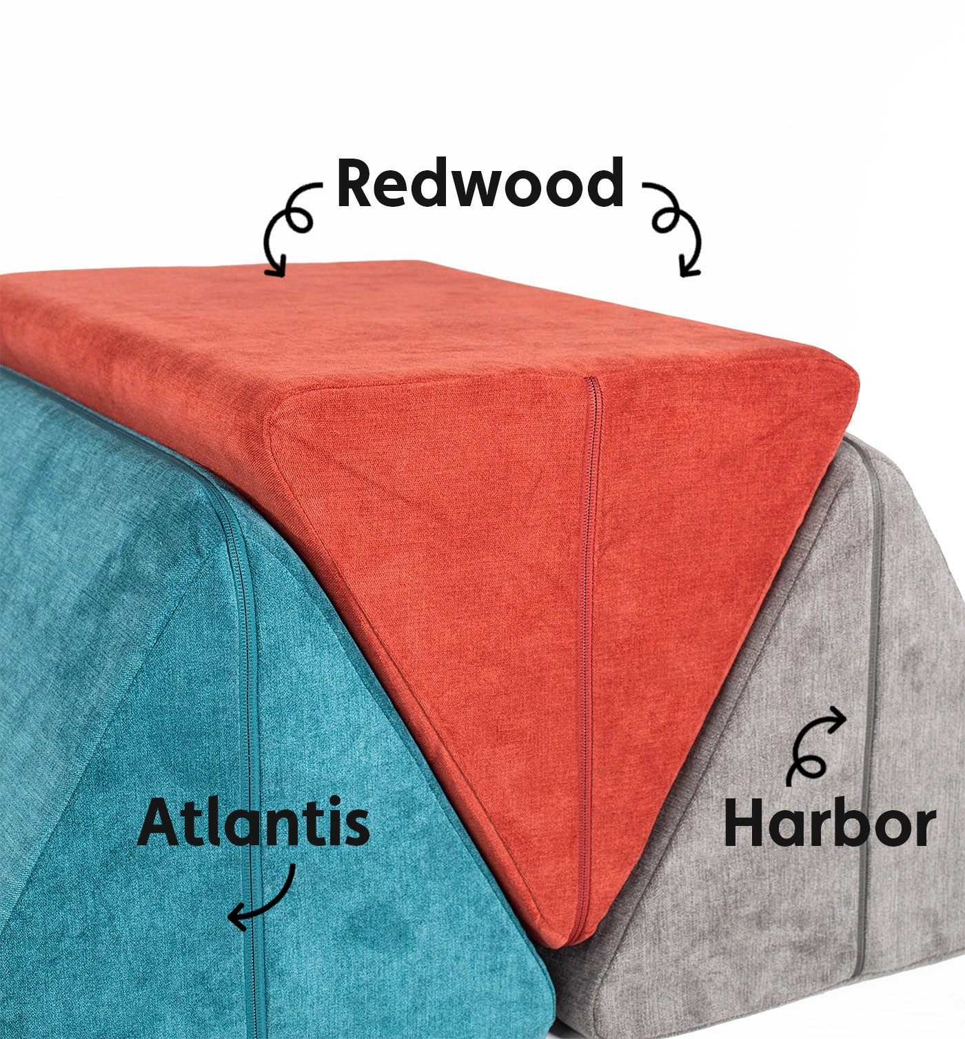 Atlantis, Redwood, and Harbor pillows wedged side-by-side, labeled with names and arrows
