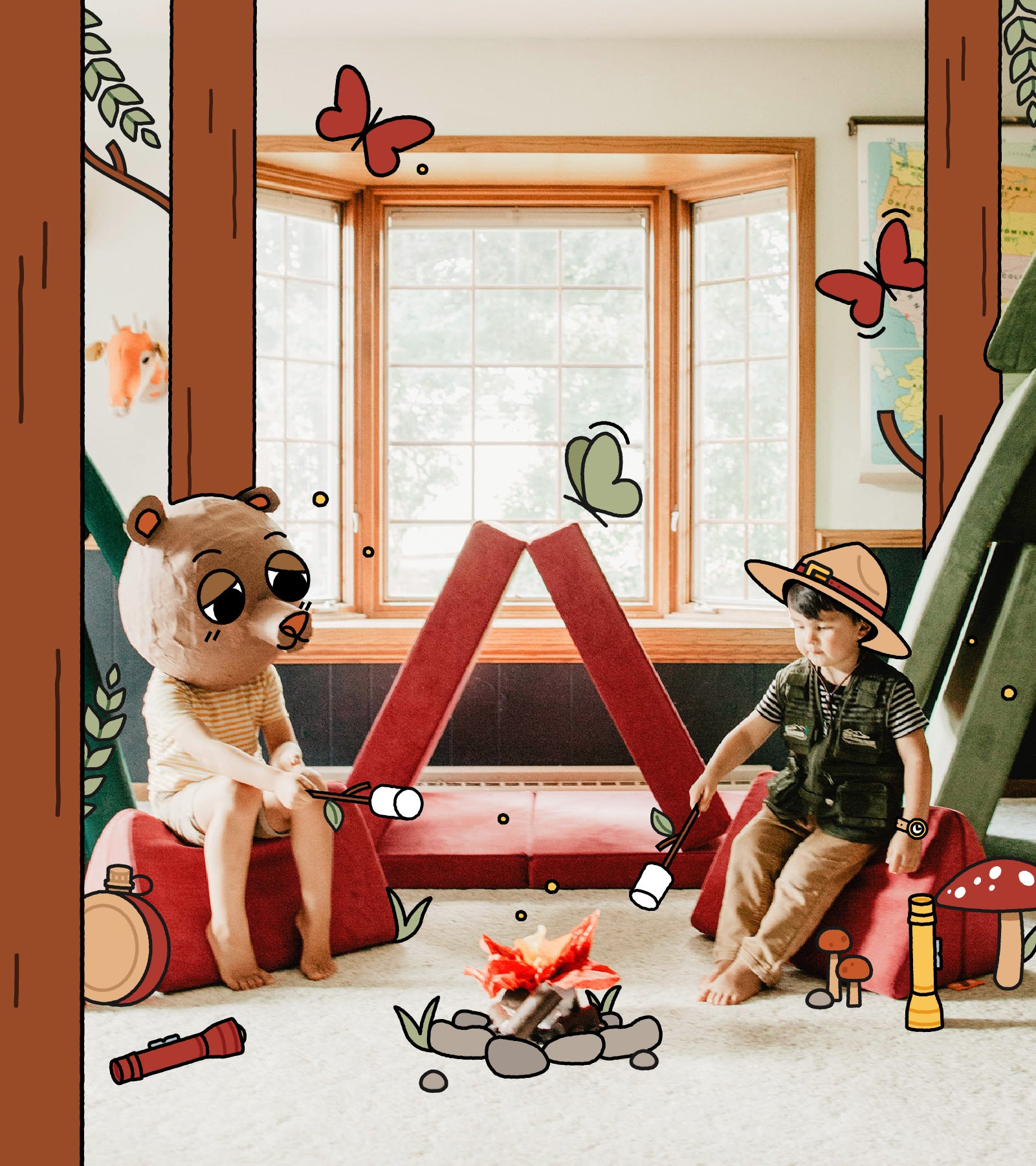 Two kids sitting around illustrated campfire, one dressed as park ranger, one with a bear costume on their head. Redwood and Bamboo Nuggets set up in background as play tents.
