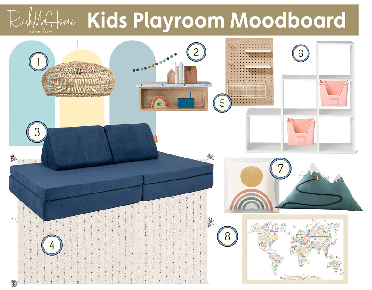 Kids playroom moodboard by RushMeHome featuring a navy blue Nugget couch, accessories, and toy storage