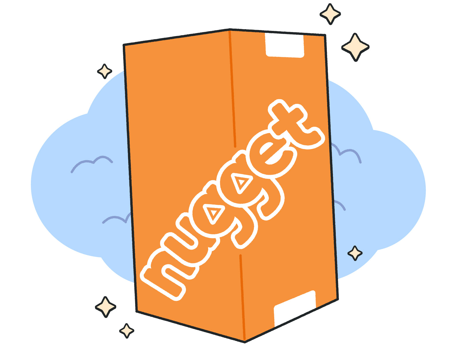 Cartoon of classic orange Nugget box floating on blue clouds surrounded by starburst shapes