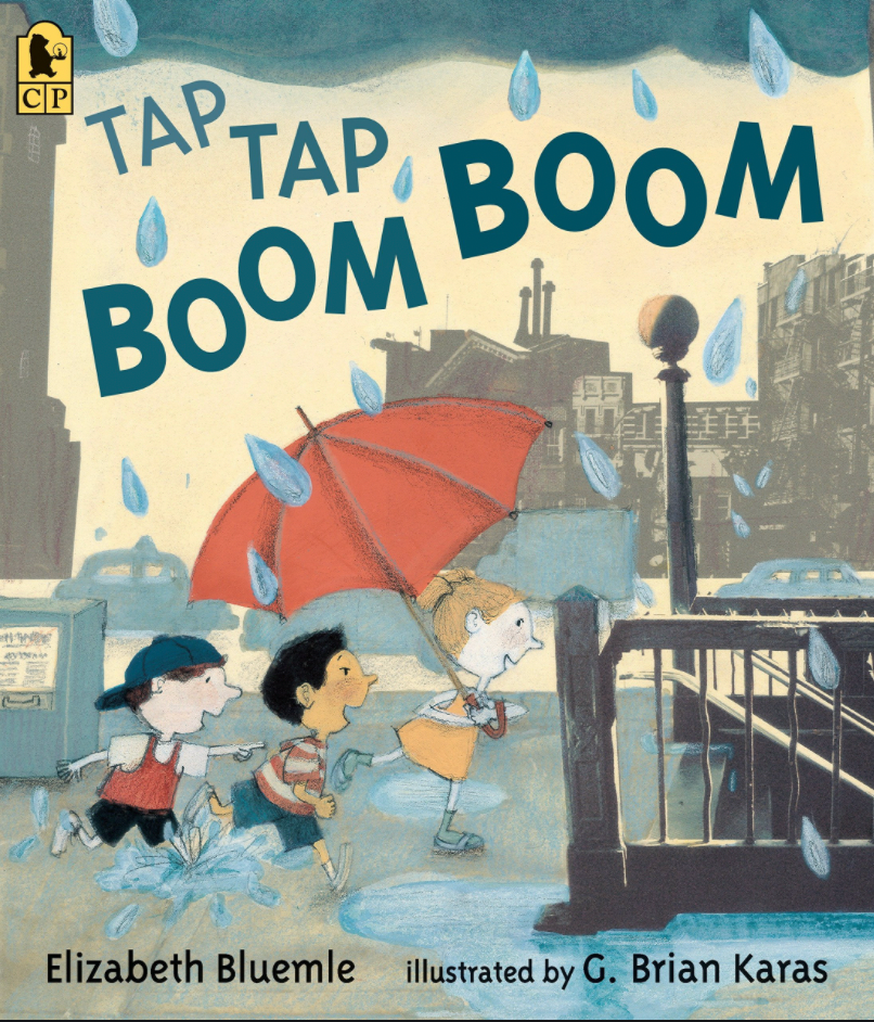 """Cover of book """"Tap Tap Boom Boom,"""" with three children running in rain, one holding an umbrella, towards a subway stop stairwell"""