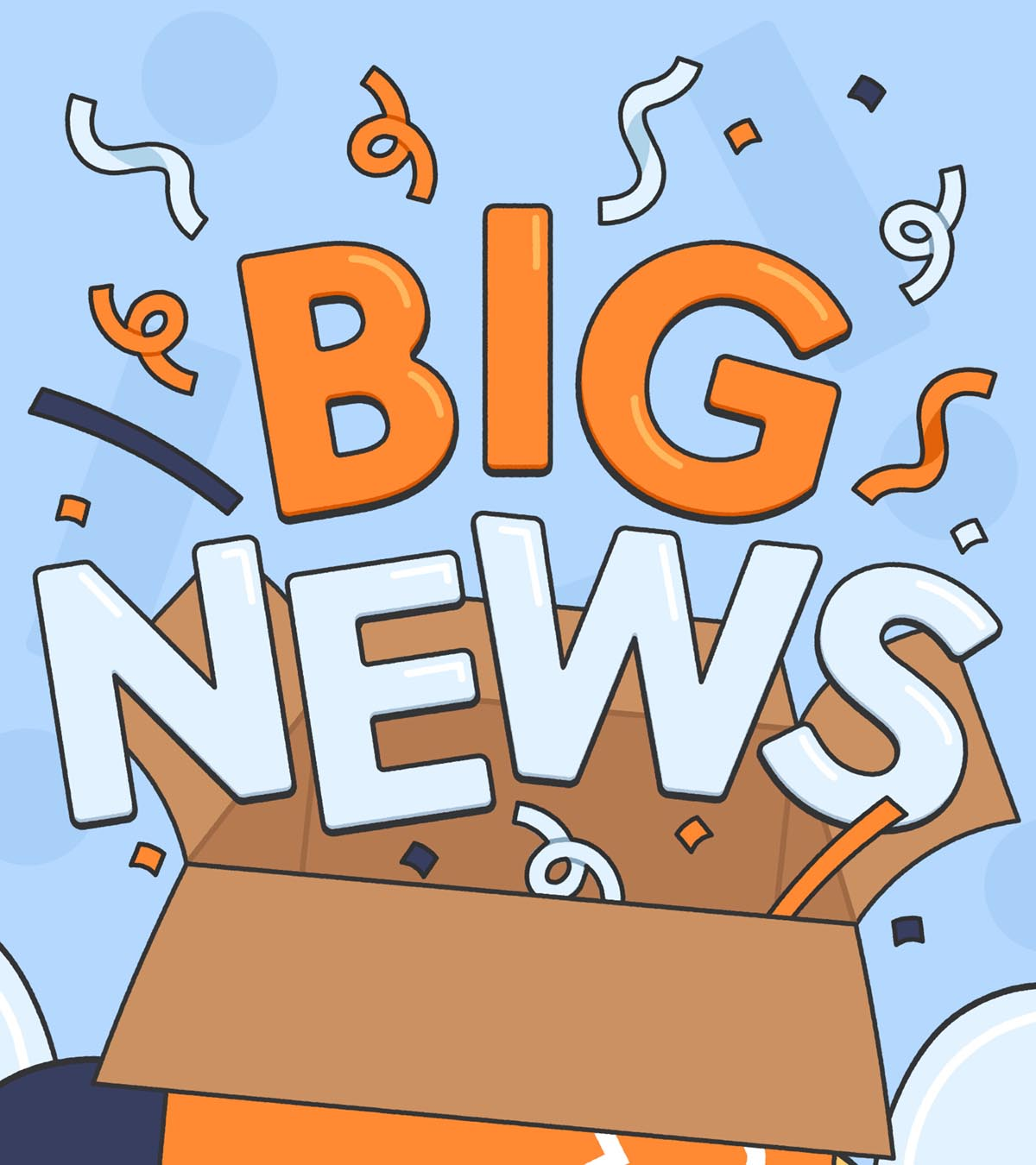 Text Big News popping out of a box with confetti
