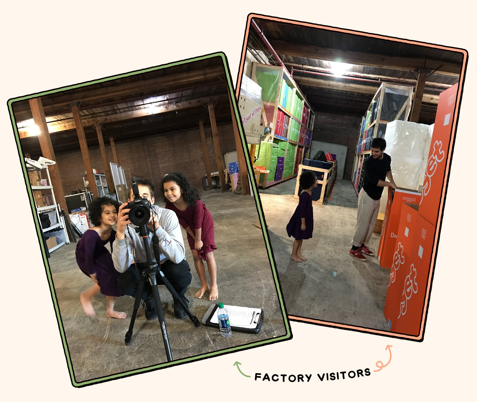 Young visitors to the first Nugget warehouse.