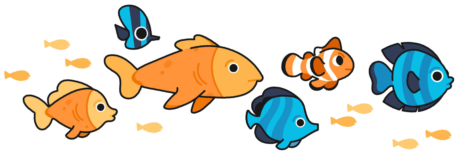 illustrated, brightly colored school of fish