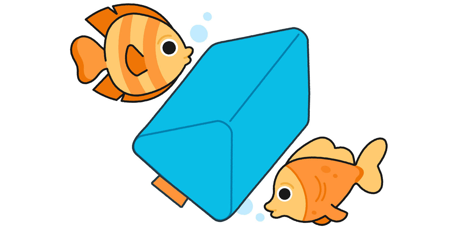 Illustrated Nugget pillow next to fish