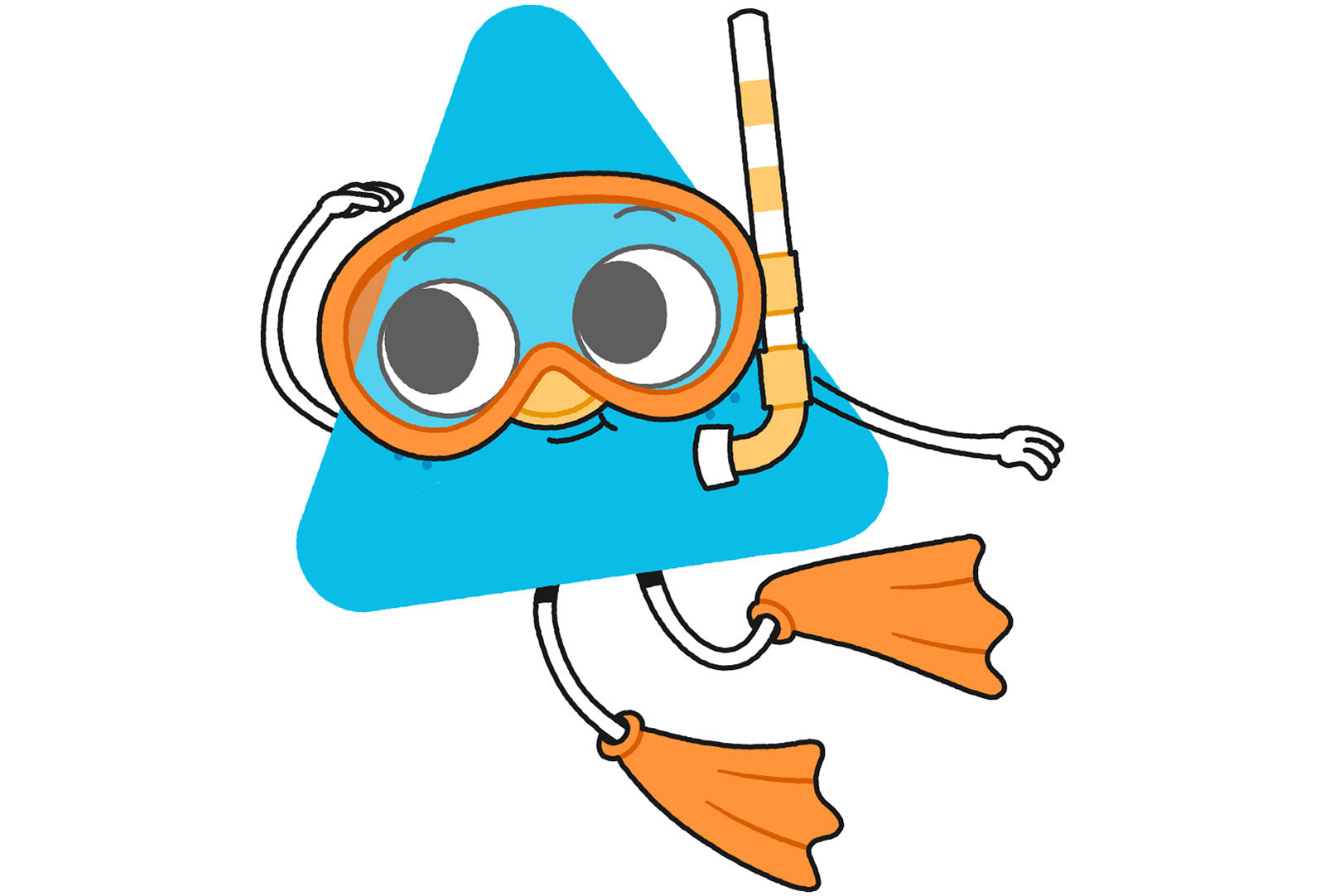 Illustrated Nugget character in snorkel outfit