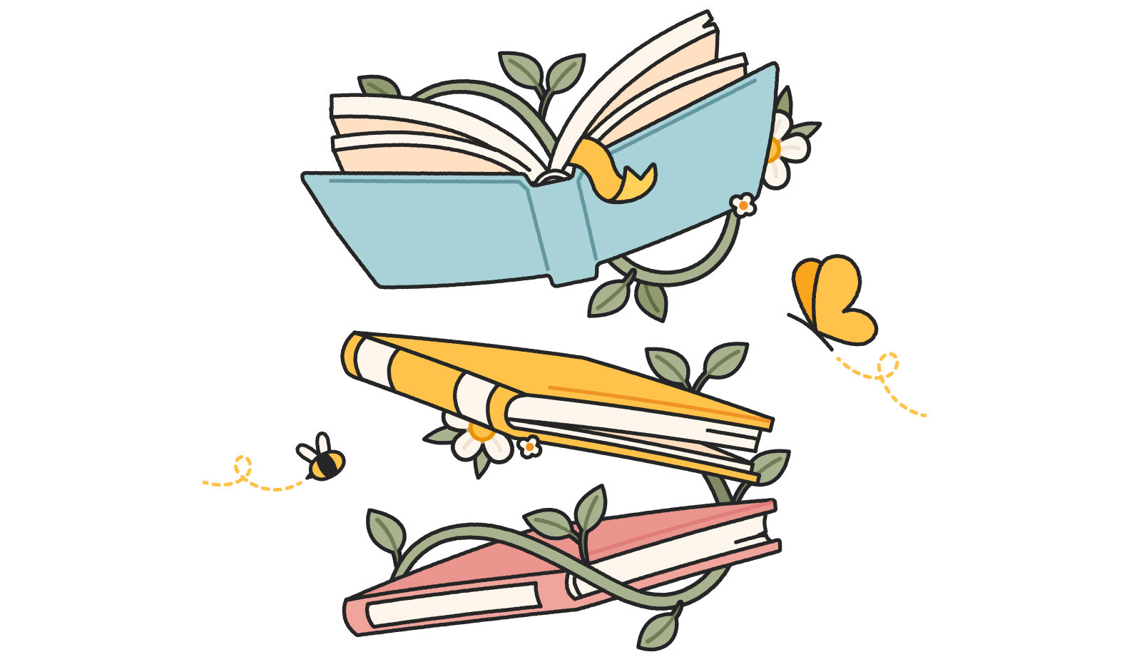 Illustration of three books gently suspended in air, with vines, flowers, butterflies and bees artfully drawn in