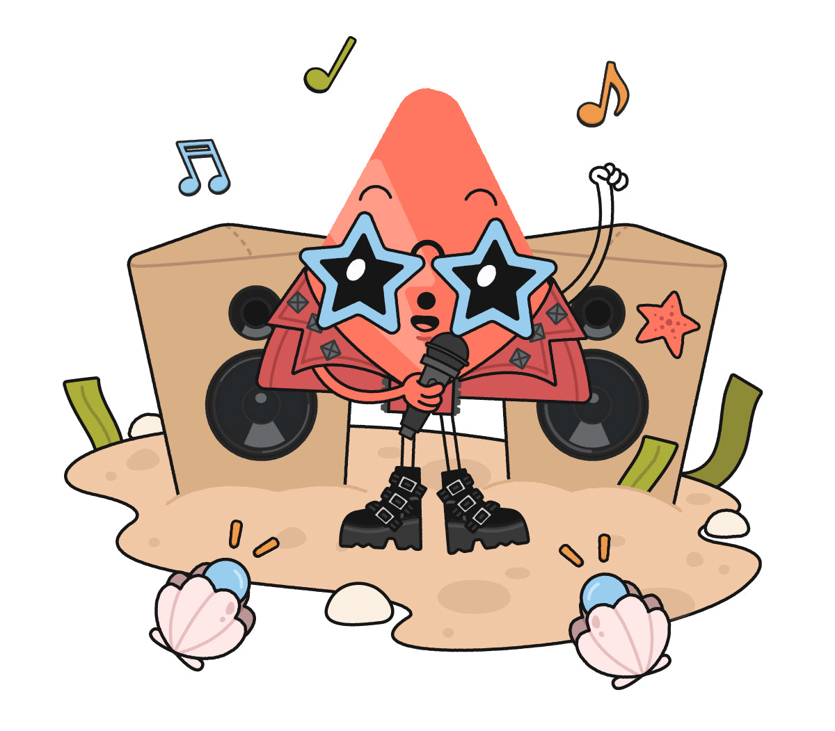Coral triangle character dressed like a rock star, standing in front of amps made of sand-colored Nugget pillows on a sandy beach, with shell stage lights pointed at center stage