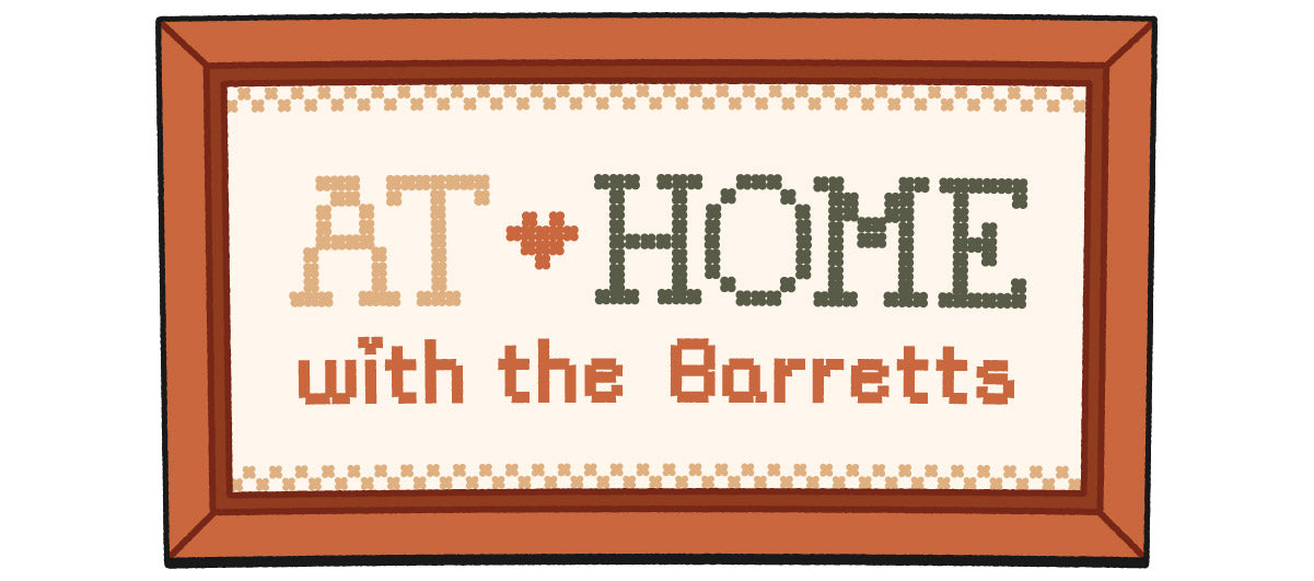 """Cross-stitch illustration of """"At Home with the Barretts"""""""