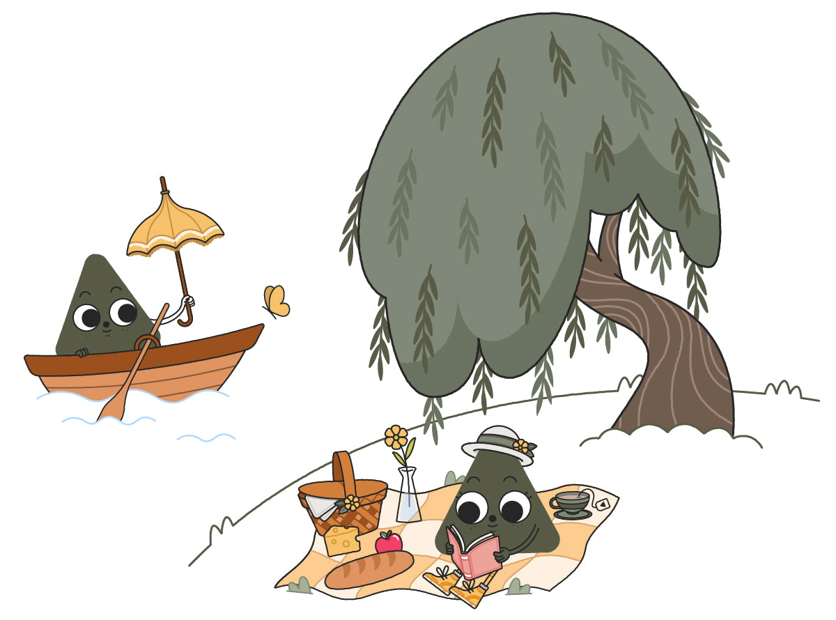 Willow Nugget characters on a picnic under a willow tree, boating while holding a parasol