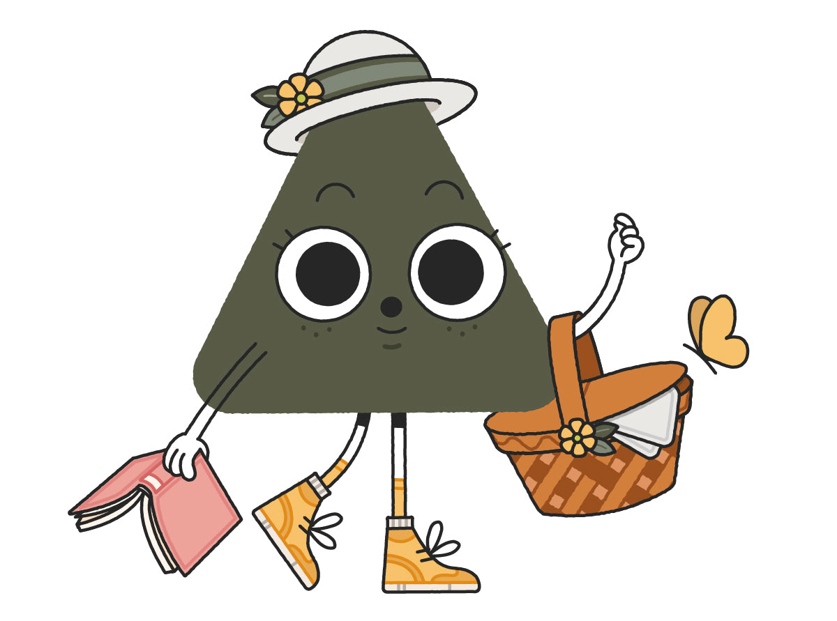 Willow Nugget character holding a picnic basket and book, wearing a sun hat