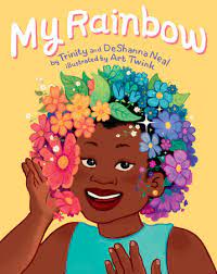 """Book Title """"My Rainbow"""" with smiling child wearing rainbow wig of flowers"""