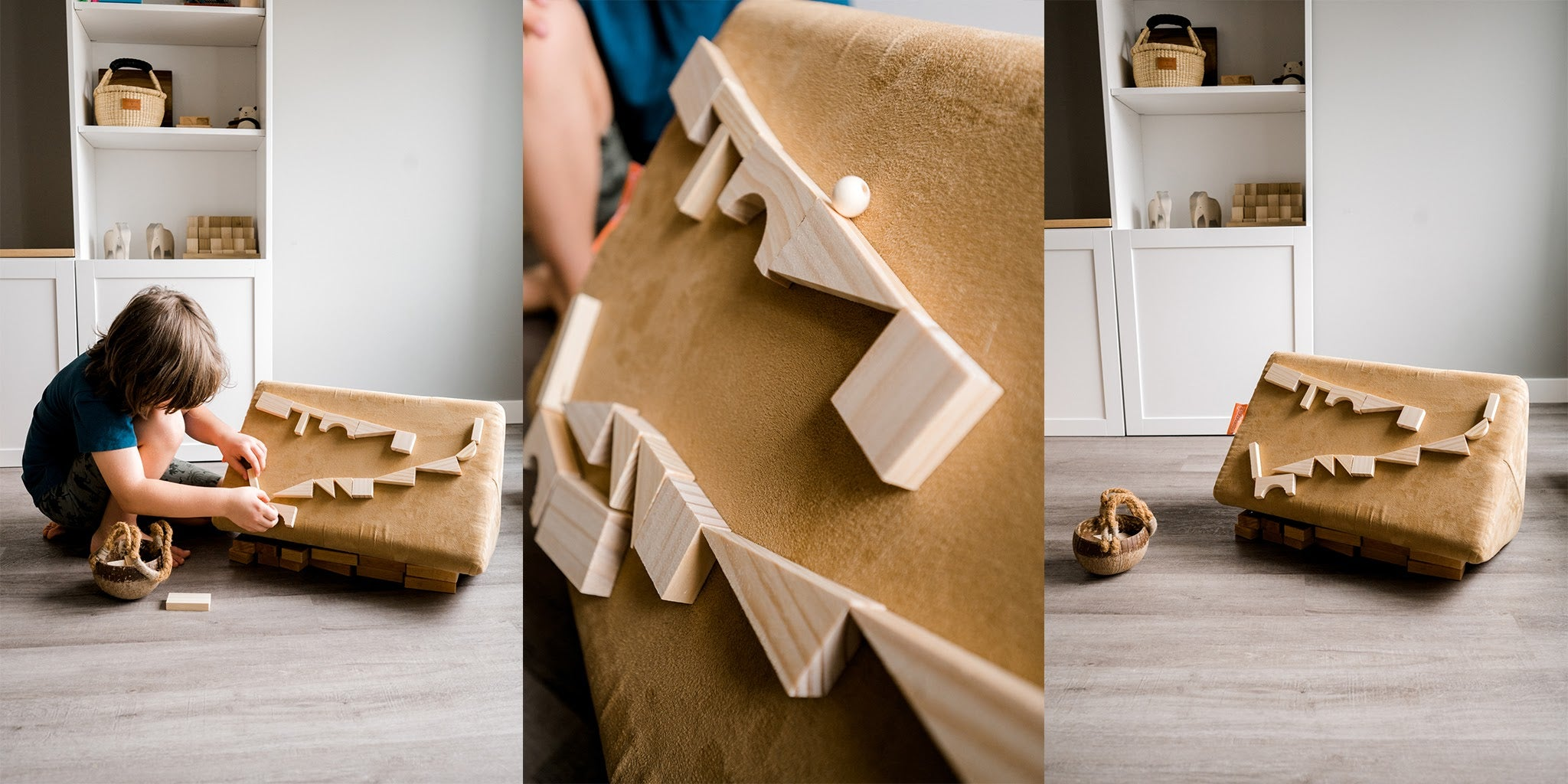 Options for Mini-size ball runs, with wooden toys on a Nugget pillow
