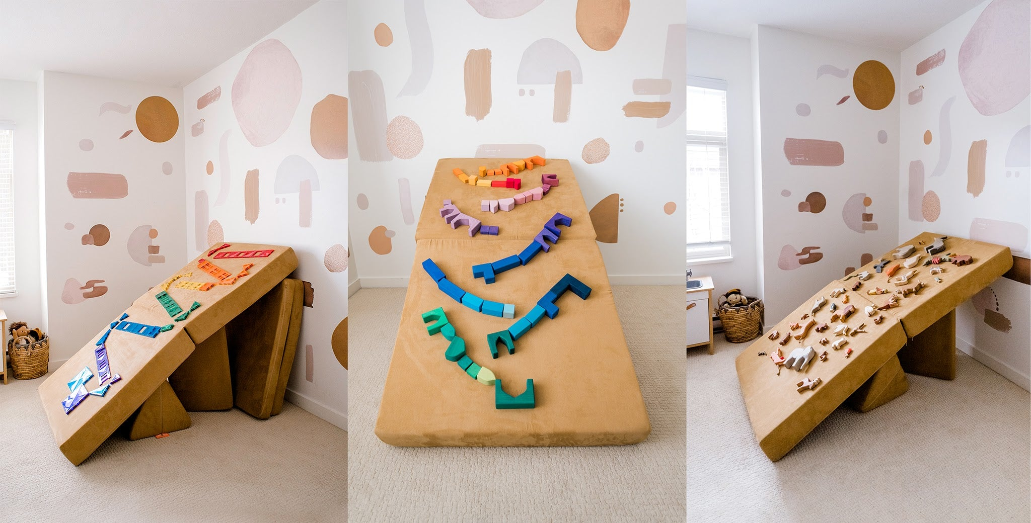 Full-size ball run options, with colorful wooden toys on a Sandcastle Nugget