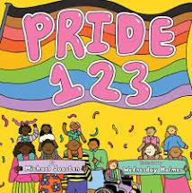 """Book title """"Pride 123"""" on Pride flag with people standing beneath"""