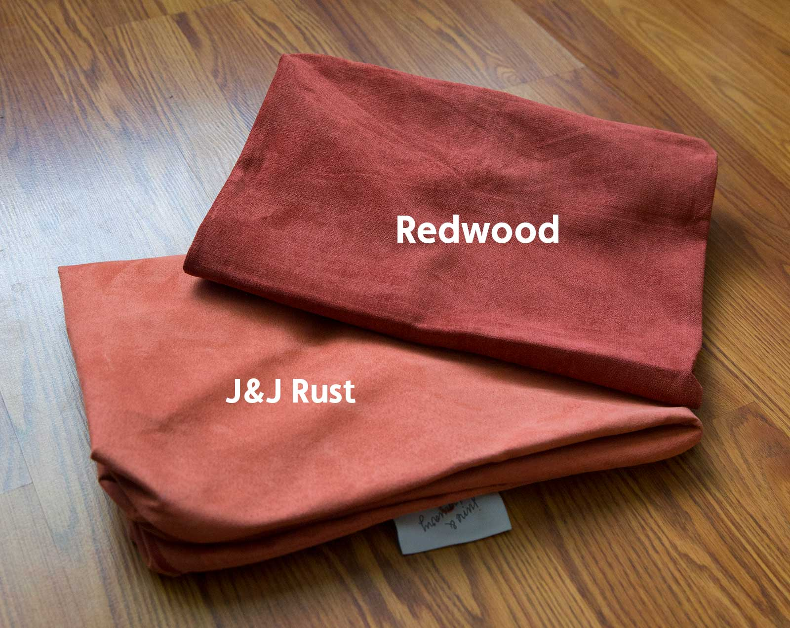 Redwood Cover Set on top of a J&J Rust Cover Set