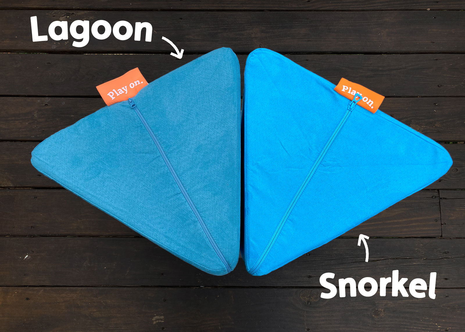 Comparison of Nugget colors: Laggon —a dusty, desaturated, warm blue; and Snorkel — a bright, popping, aquamarine