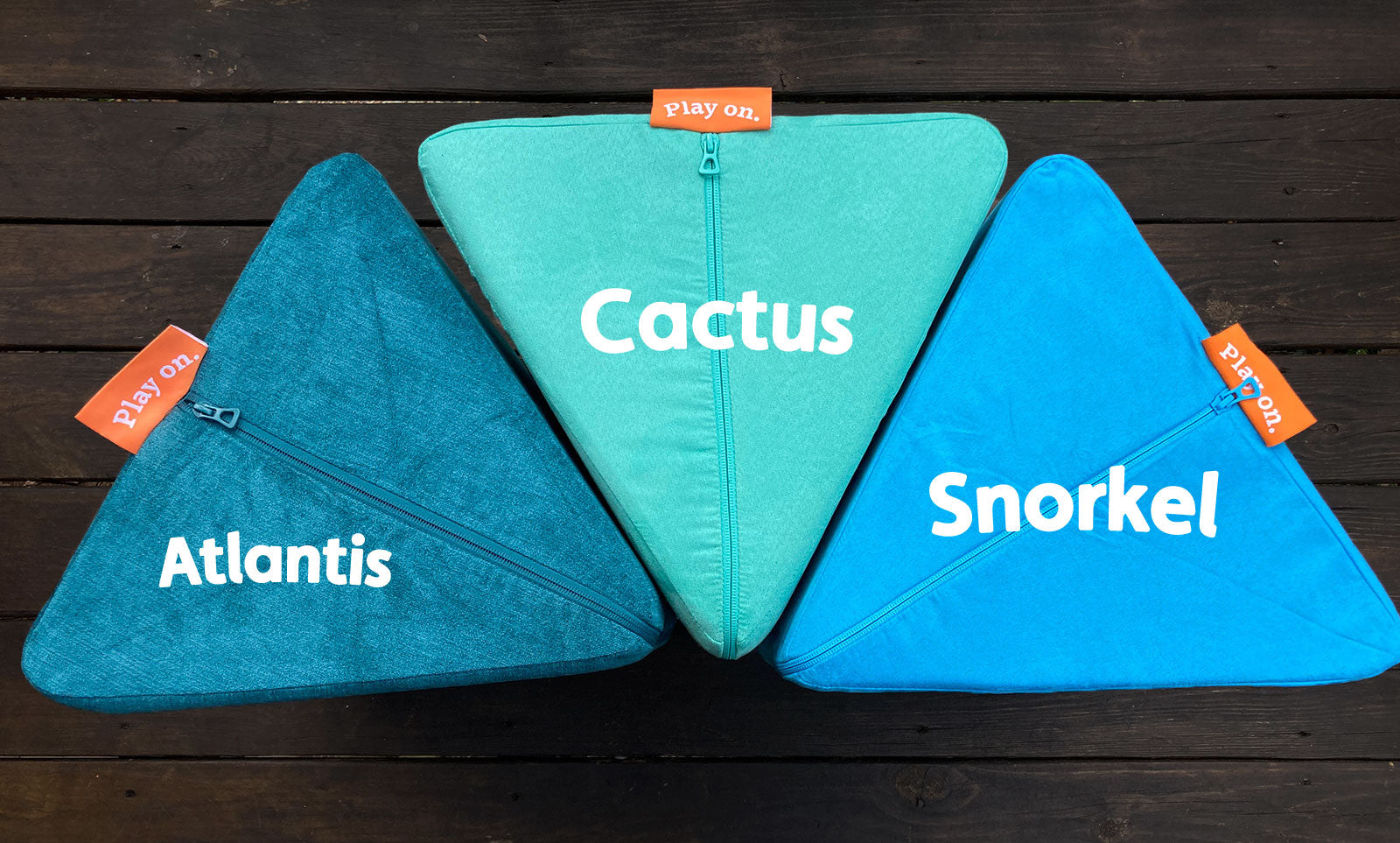 Comparison of Nugget colors: Atlantis — textured teal blue; Cactus —deep, saturated mint; Snorkel — a bright, popping aquamarine